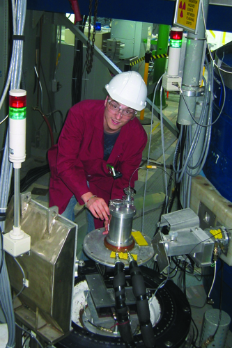 Drew Marquardt sets up his experiment on the N5 beamline