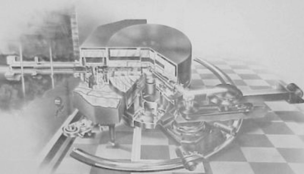 The Triple Axis Neutron Spectrometer (circa 1957) invented by Bertram N. Brockhouse. The monochromator shielding drum is still in use in the NRU reactor in the E-3 spectrometer. The crystal table, analyser and detector assembly to the right of the drum, are now in the Canadian Museum of Science and Technology in Ottawa.
