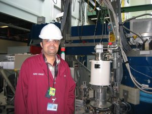 Boston College graduate student Chetan Dhital (pictured) gained hands-on experience at the N5 beamline while working under CNBC Scientist Dr. Zahra Yamani to perform the experiments. Dr. Yamani also led the project to upgrade the detector's shielding